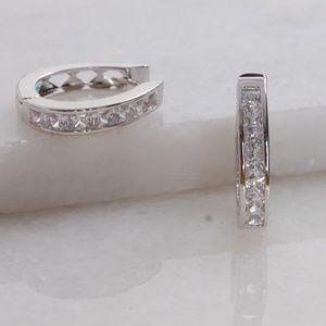 Beautiful Silver CZ Diamond Huggie Hoop Earrings